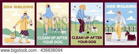 Set Of Vector Flat Cartoon Illustrations For Posters With Owners Who Walk Their Dogs In Park And Cle