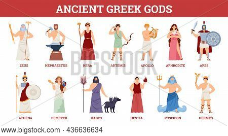 Banner With Goddesses And Gods Ancient Greek Mythology. Set Of Famous Characters Of Olympian Pantheo