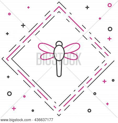 Line Dragonfly Icon Isolated On White Background. Colorful Outline Concept. Vector