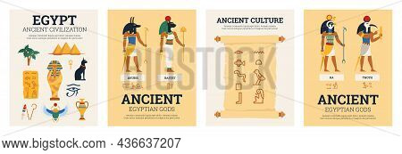 Set Of Four Posters With Ancient Egyptian Mythology Concept In Flat Cartoon Style Vector