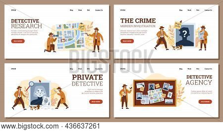 A Set Web Banners For Private Detective Agency With Professional Investigators