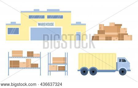 Warehouse Logistic Company Facility And Transport, Vector Illustration Isolated.