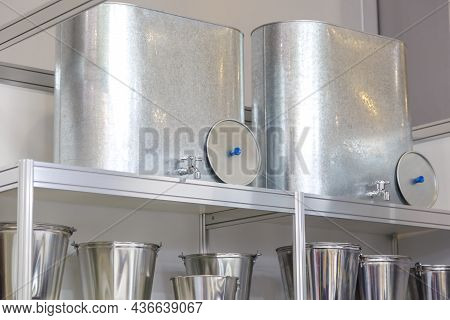 Sale Of Galvanized Various Household Goods And Products. Iron Buckets, Cisterns, Sinks, Washstands O