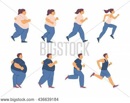 Fat Young Woman And Man With Obesity Problem Engaged Fitness For Lose Weight.