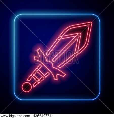 Glowing Neon Medieval Sword Icon Isolated On Black Background. Medieval Weapon. Vector