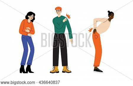People Character Suffering From Pain In Stomach And Shoulder Vector Illustration Set