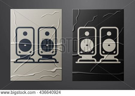White Stereo Speaker Icon Isolated On Crumpled Paper Background. Sound System Speakers. Music Icon.