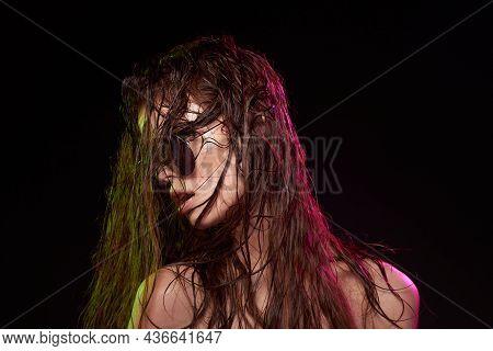 Beautiful Woman Attractive Glance Posing Sunglasses Studio Lifestyle