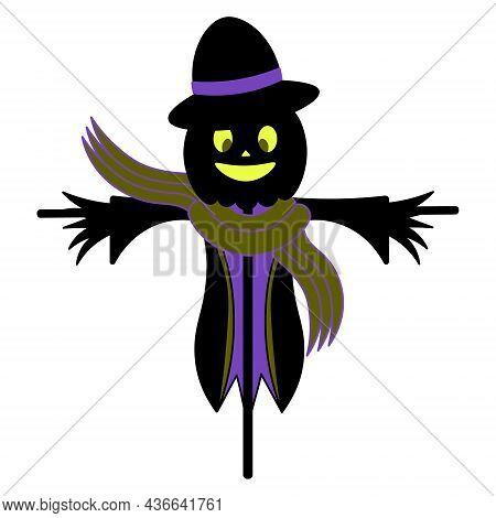 Scarecrow. Silhouette. Scare Birds Away. Pumpkin On The Head. Smiling Facial Expression. A Scarecrow