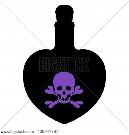 Poison Bottle. Silhouette. Heart Shaped Vessel. Violet Emblem On A Bottle Of Skull And Bones. The Bo
