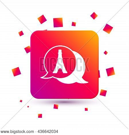White Eiffel Tower Icon Isolated On White Background. France Paris Landmark Symbol. Square Color But