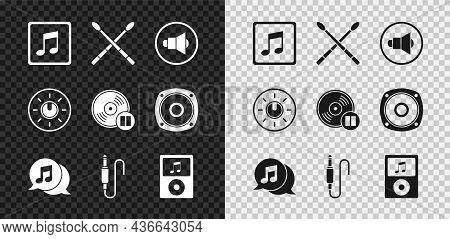 Set Music Note, Tone, Drum Sticks, Speaker Volume, Musical In Speech Bubble, Audio Jack, Player, Dia