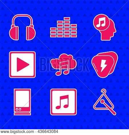 Set Music Streaming Service, Note, Tone, Triangle Musical Instrument, Guitar Pick, Voice Assistant,