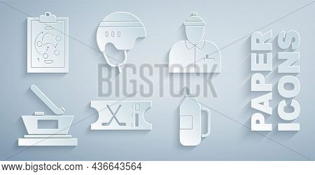 Set Hockey Sports Ticket, Coach, Ice Hockey Cup Champion, Fitness Shaker, Helmet And Planning Strate