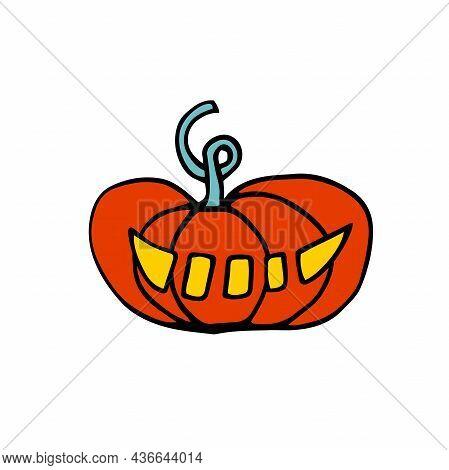 Doodle Halloween Scary Orange Pumpkin. Fun, Creepy, Luminous Face With Fangs. Happy Halloween Holida