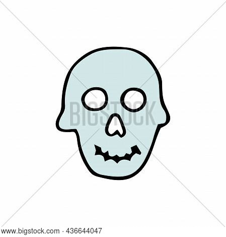 Doodle Halloween Scull. Smiling Skeleton Isolated On White Background. Hand-drawn Scary Cranium. Mys