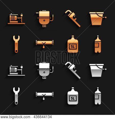 Set Broken Pipe With Leaking Water, Bucket, Bottle Of, Big Bottle Clean, Wrench Spanner, Pipe Adjust