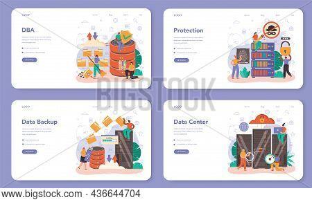 Data Base Administrator Web Banner Or Landing Page Set. Manager
