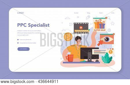 Ppc Specialist Web Banner Or Landing Page. Pay Per Click Manager