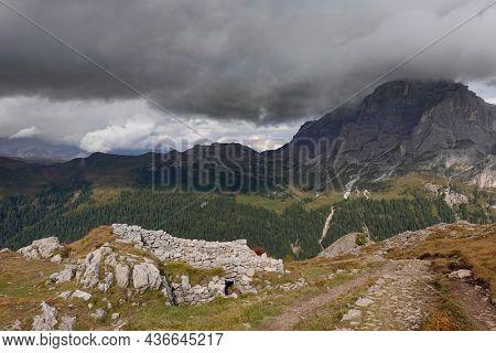 Mount Castellaz, trekking of the Thinking Christ, peak of the Dolomites in Italian Alps, UNESCO world heritage site in Trentino Alto Adige, Passo Rolle, Italy, Europe