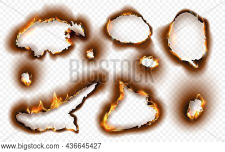Paper Holes With Realistic Burnt Effect And Fire Flame. Burning Torn Charred Edges With Black Ash. S