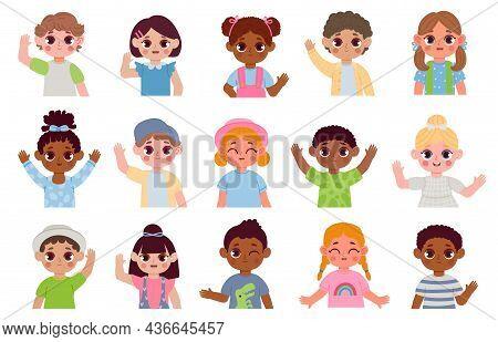 Cartoon Children Multiethnic Characters Hello By Waving Hands. Kids Smiling Portraits. Happy Kinderg