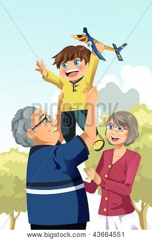 Grandparents And Grandson Playing