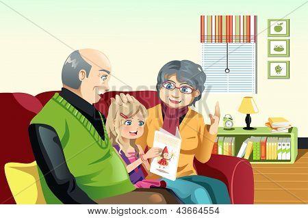 Grandparents And Grandaughter Reading