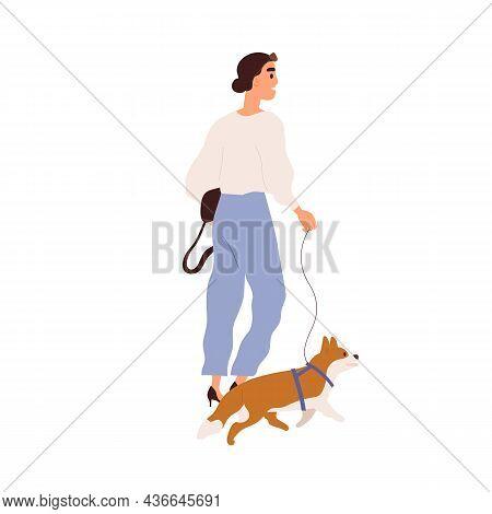 Modern Woman Walking With Dog On Leash. Stroll Of Young Fashion Lady Leading Doggy. Stylish Female I