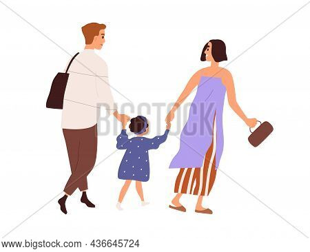 Happy Family, Parent And Kid, Walking And Holding By Hands Together. Mother, Father And Daughter Str