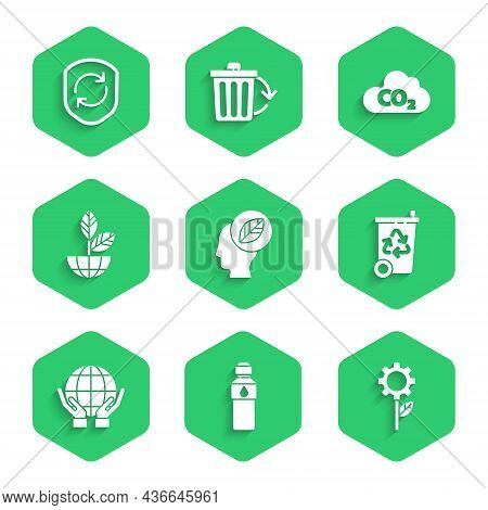 Set Human Head With Leaf Inside, Bottle Of Water, Leaf Plant Gear Machine, Recycle Bin Recycle, Hand