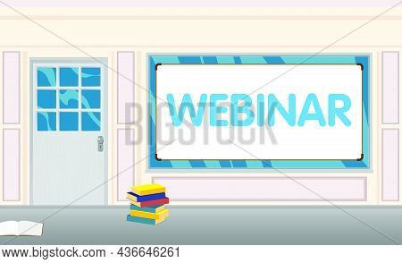 Webinar Text With Front Door Background. Bar, Cafe Or Drink Establishment Front With Poster.