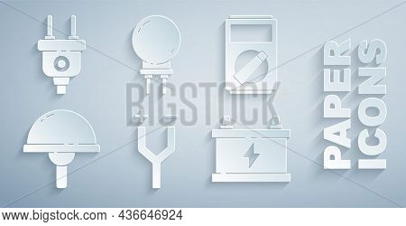 Set Electric Cable, Multimeter, Light Emitting Diode, Car Battery, And Plug Icon. Vector