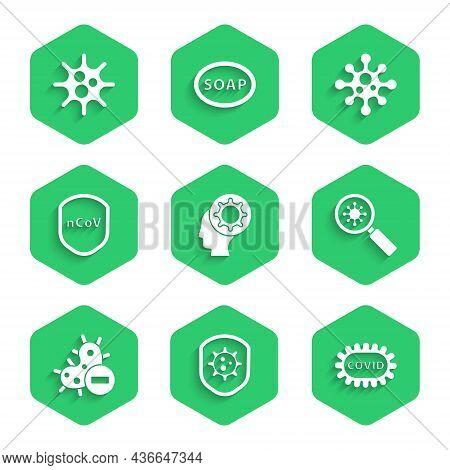 Set Human And Virus, Shield Protecting From, Corona Covid-19, Virus Under Magnifying Glass, Negative