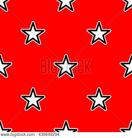 Full Frame Seamless Background Vector Illustration With Rows Of Geometric Stars Depicted On Bright R