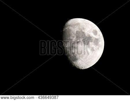 Three Quarter Full Moon Against Black Sky - 40+ MP Image