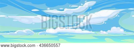 Sky Clouds Blue. Illustration In Cartoon Style Flat Design. Heavenly Atmosphere. Vector.