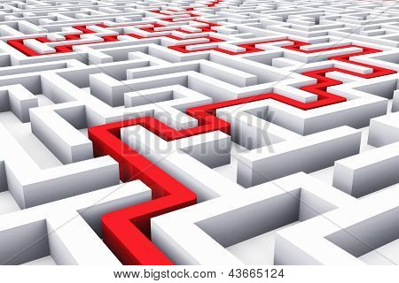 Creative success marketing strategy and motivation concept: red path across endless white labyrinth poster