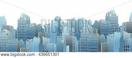 Ruined Big Modern City. Apocalypse Scene. Armageddon Death Of Civilization In War Or Environmental D
