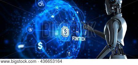 Fintech Financial Technology Online Payment Digital Economy Concept. Robot Pressing Button On Screen
