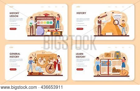 History Lesson Web Banner Or Landing Page Set. History School Subject