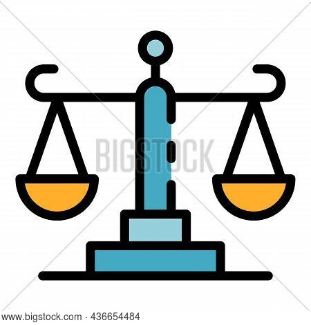 Court Justice Balance Icon. Outline Court Justice Balance Vector Icon Color Flat Isolated