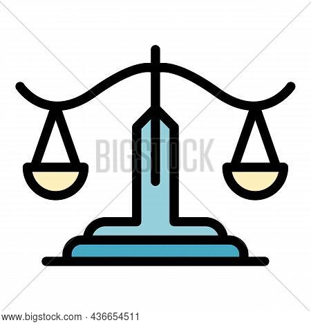 Protection Justice Balance Icon. Outline Protection Justice Balance Vector Icon Color Flat Isolated