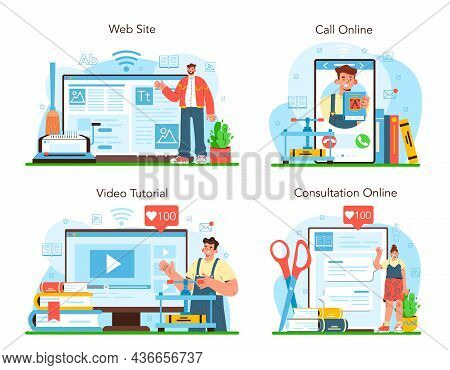 Book Binding Online Service Or Platform Set. Printing House Technology