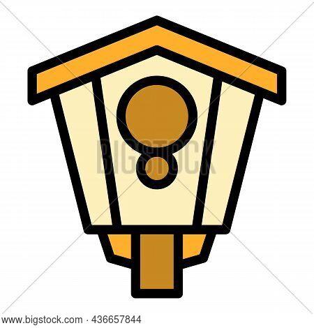 Outdoor Bird House Icon. Outline Outdoor Bird House Vector Icon Color Flat Isolated
