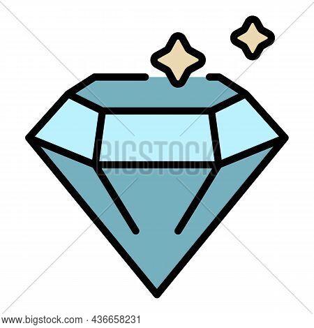 Diamond Icon. Outline Diamond Vector Icon Color Flat Isolated