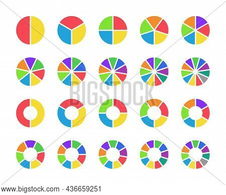 Pie Chart. Circle Graph With Section From 1 To 11. 6, 5, 3 Infographic Part In Round Diagram. Graphi