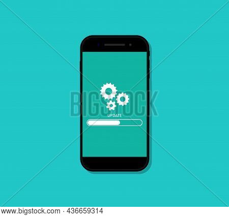 Phone Update. Upgrade Of Mobile Software. Loading Of App On Screen. Reset In Smartphone. Download Of