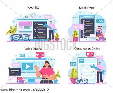 Website Development Online Service Or Platform Set. Html Coding Process.