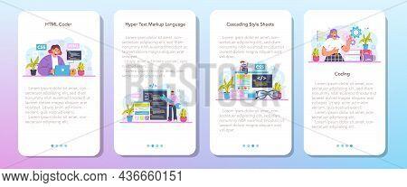 Website Development Mobile Application Banner Set. Html Coding